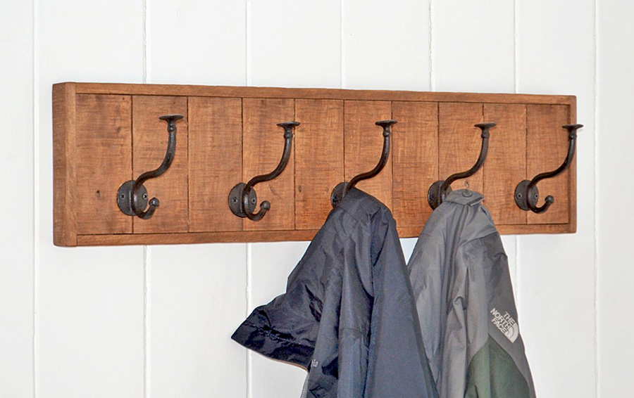 wall mount coat rack made in US with recycled wood