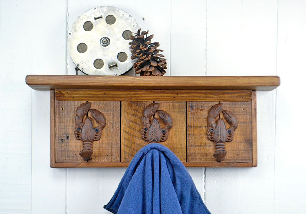 wall mounted coat rack with lobster hooks