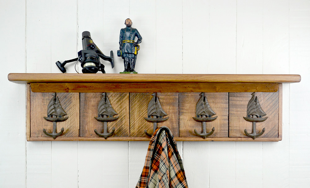 wall mounted coat rack with sailboat hooks