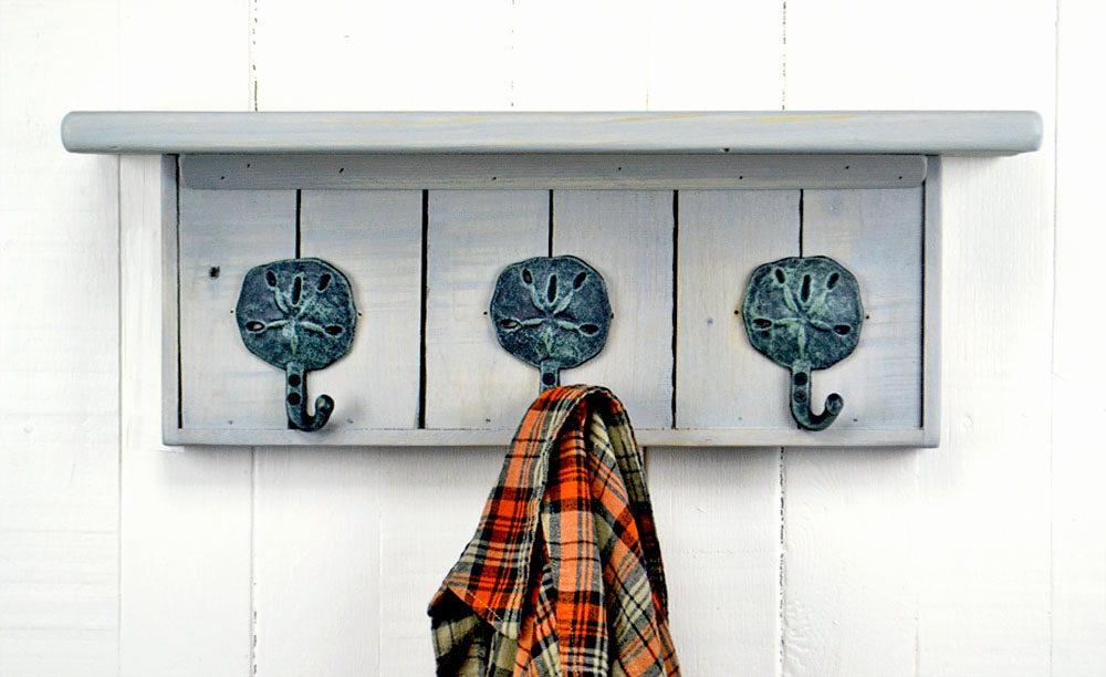 wall mounted coat rack with sand dollar hooks