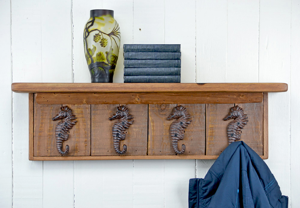 wall mounted coat rack with sea horse hooks