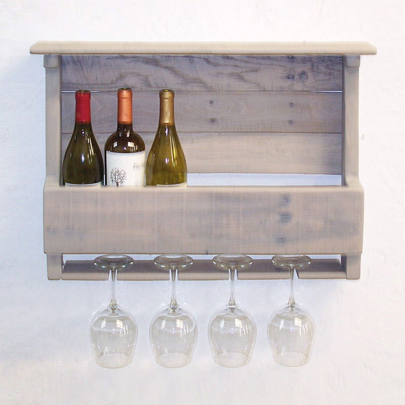 driftwood finish wall mount wine rack